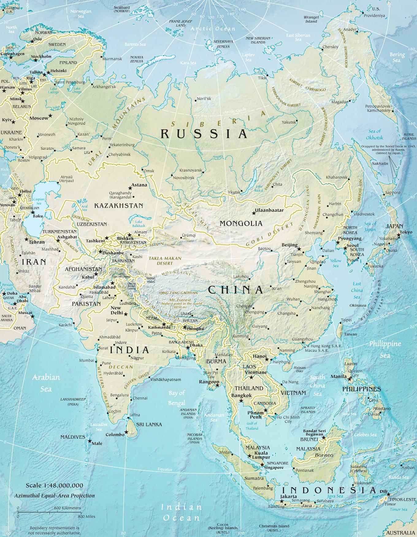 Asya Kıtası Fiziki Haritası