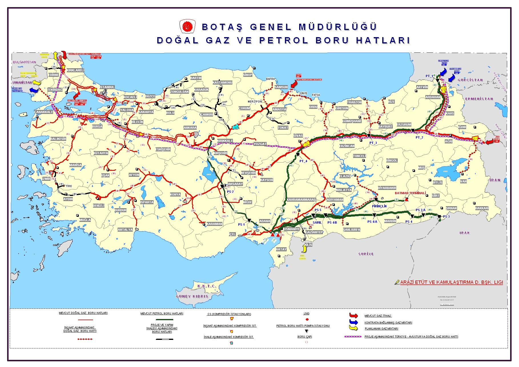 Türkiye Doğal Gaz ve Petrol Boru Hattı Haritası