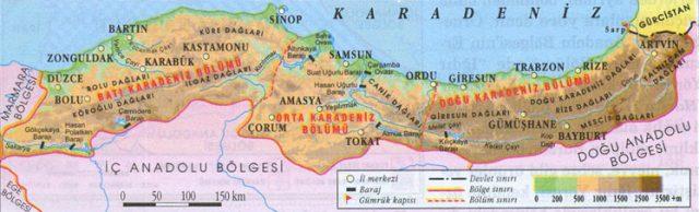 Karadeniz Bölgesi Fiziki Haritası